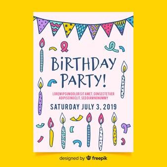 Hand getrokken verjaardag uitnodiging sjabloon