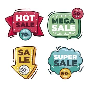 Hand getrokken verkoop sticker collectie