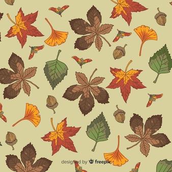 Hand getrokken verlaat herfst achtergrond