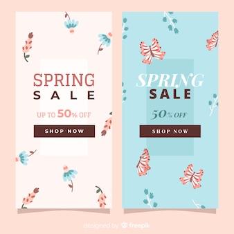 Hand getrokken verlaat lente verkoop banner