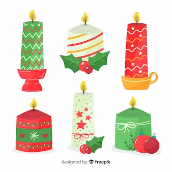 Hand getrokken verlichte kerst kaarsen