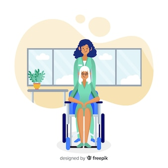 Hand getrokken verpleegster die geduldige achtergrond helpen