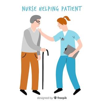 Hand getrokken verpleegster die patiënt helpt