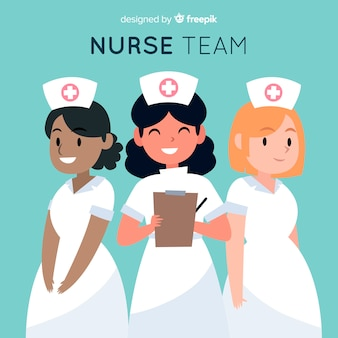 Hand getrokken verpleegster team achtergrond