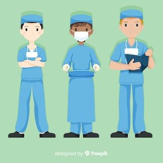 Hand getrokken verpleegster team-collectie