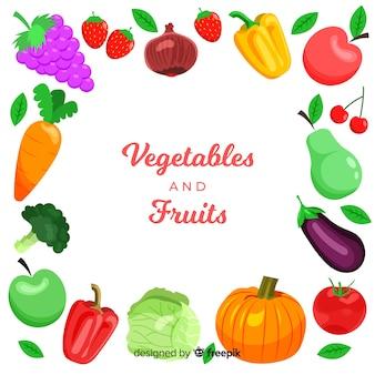 Hand getrokken vers fruit en plantaardige kaderachtergrond