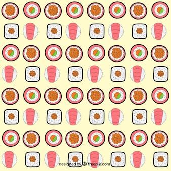 Hand getrokken verscheidenheid van sushi patroon