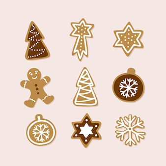 Hand getrokken verzameling van traditionele kerst cookie.