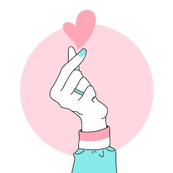 Hand getrokken vingerhart