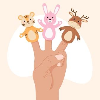 Hand getrokken vingerpoppetjes collectie