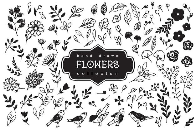 Hand getrokken vintage bloemenelementen