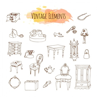 Hand getrokken vintage elementen.