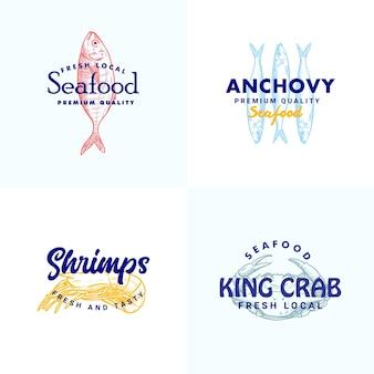Hand getrokken vis ansjovis shripms krab illustratie logo sjabloon collectie voor zeevruchten merk