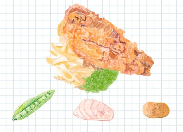 Hand getrokken vis en chips aquarel stijl