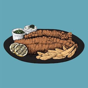 Hand getrokken vis met patat
