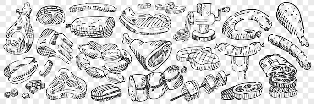 Hand getrokken vlees doodle set. verzameling van runder kalfsvlees schapenvlees lam kippenworsten frankfurter ossenhaas entrecote filet lende op transparante achtergrond. vee snijden delen voedsel illustratie.