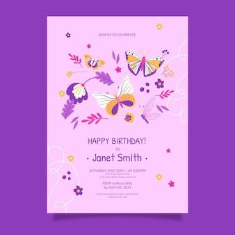 Hand getrokken vlinder verjaardag uitnodiging sjabloon