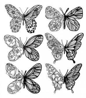 Hand getrokken vlindercollectie