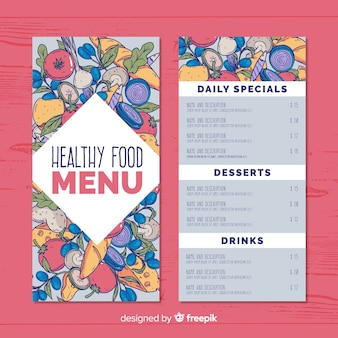 Hand getrokken voedsel gezond menusjabloon