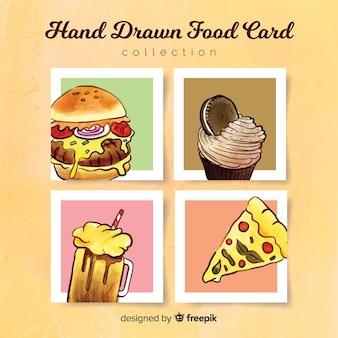 Hand getrokken voedsel kaart collectie