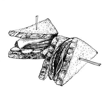 Hand getrokken voedsel schets van sandwich, geroosterde broodjes.