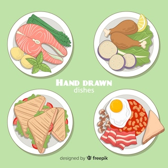 Hand getrokken voedsel schotel-collectie
