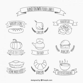 Hand getrokken voedsel stickers