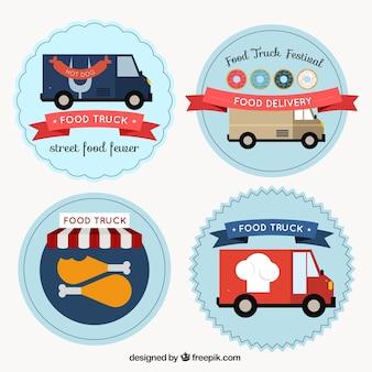 Hand getrokken voedsel vrachtwagen stickers