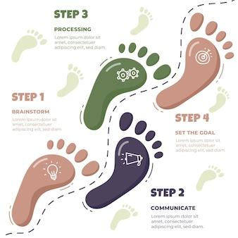 Hand getrokken voetafdruk infographics