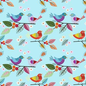 Hand getrokken vogel op tak patroon.