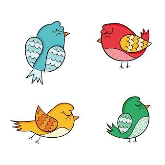 Hand getrokken vogelpak