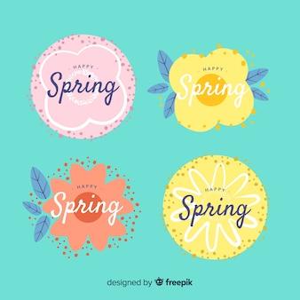 Hand getrokken voorjaar badge collectie