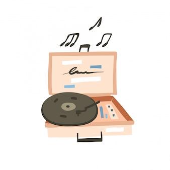 Hand getrokken voorraad abstracte grafische cartoon illustratie met abstracte trendy eenvoudige tekening moderne vinyl recorder op witte achtergrond
