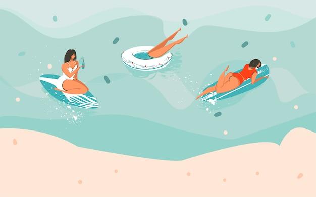 Hand getrokken voorraad abstracte grafische illustratie met een meisje en rubberen ringen, surfers in de oceaan en kopieer de ruimte voor uw typografie geïsoleerd op een gekleurde achtergrond