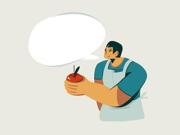 Hand getrokken voorraad abstracte grafische illustratie met het karakter van de verkoper van de kerel verkoopt verse biologische huisappel op witte achtergrond.