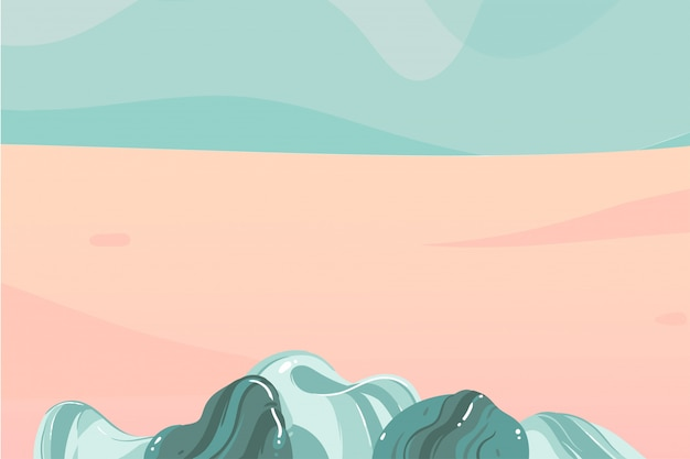 Hand getrokken voorraad abstracte grafische illustratie met oceaangolven kustscène met niemand en de ruimte van de exemplaarruimte voor uw typografie op achtergrond