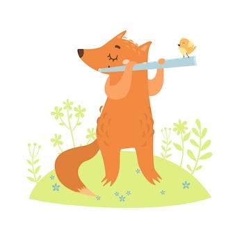Hand getrokken vos spelen fluit met vogel erop