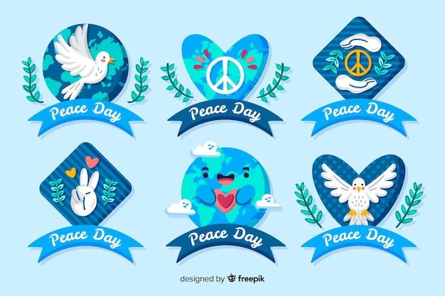 Hand getrokken vrede dag badge collectie
