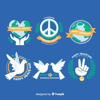 Hand getrokken vrede dag labelverzameling