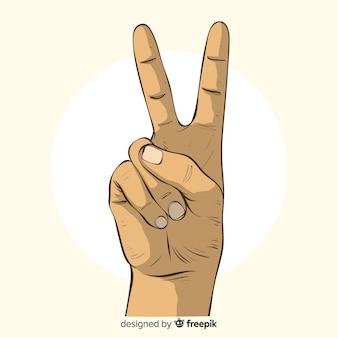 Hand getrokken vredesteken hand