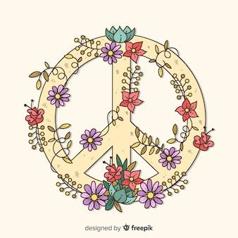 Hand getrokken vredesteken