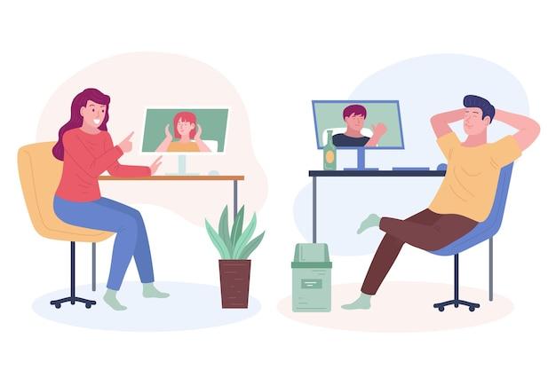Hand getrokken vrienden videoconferentiescène
