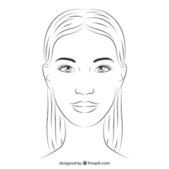 Hand getrokken vrouw gezicht