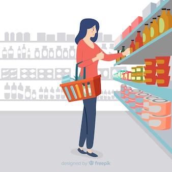 Hand getrokken vrouw in de supermarkt