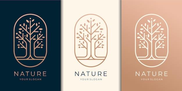 Hand getrokken vrouwelijke en moderne boomsjabloon logo set,