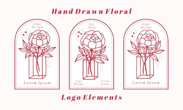 Hand getrokken vrouwelijke logo-elementencollectie met roze pioenroos bloem en blad