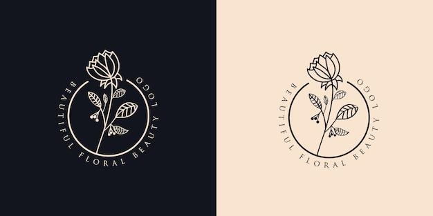Hand getrokken vrouwelijke schoonheid en bloemen botanisch logo voor huid- en haarverzorging in de spa-salon