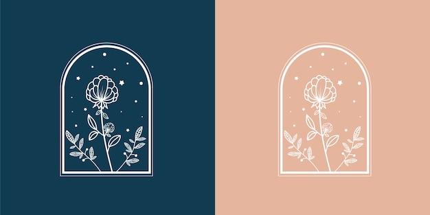 Hand getrokken vrouwelijke schoonheid en bloemen botanische logo-set
