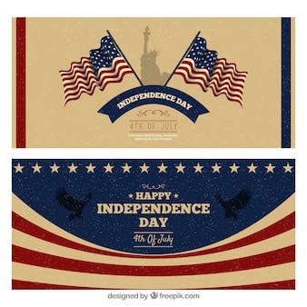 Hand getrokken vs dag van de onafhankelijkheid banners
