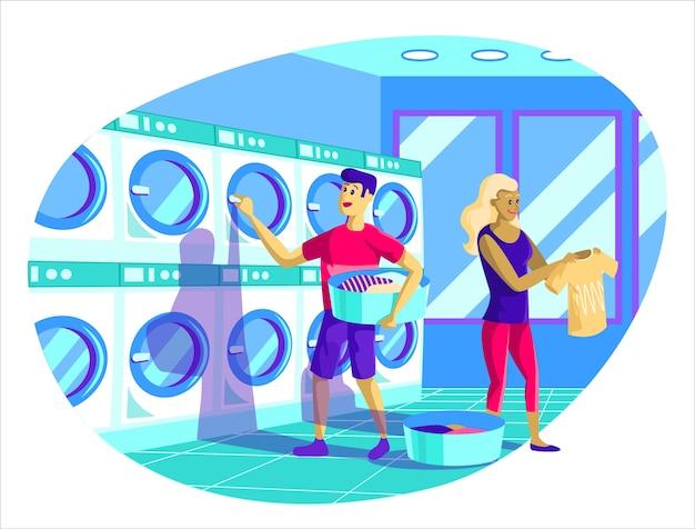 Hand getrokken wasserette illustratie